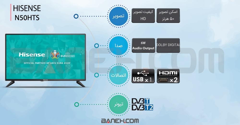 خرید تلویزیون هایسنس ال ای دی اچ دی Hisense 32N50HTS
